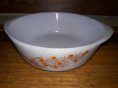 """Made in the U.S.A. 8 1/2"""" Glasbake microwave safe, glass pan multicolored"""