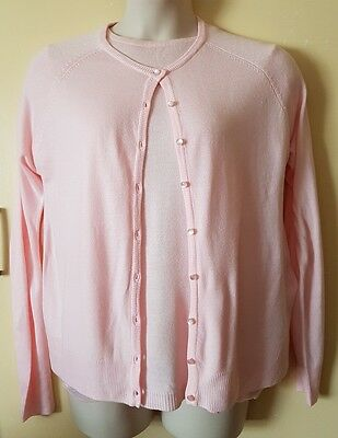 Ladies Soft Feel Pink Cardigan And Jumper Set Plus Size 18