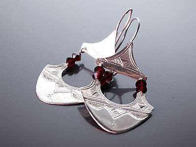 Beautiful Silver & Red Glass Tuareg Touareg Earrings - African Jewellery