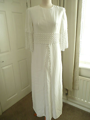 Vintage 60's Off White  Lace Wedding Hen Night Party Theatre Fancy Dress UK 12