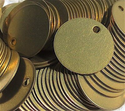 "1 box of 100 round 1"" brass dog tag identity discs for engraving"