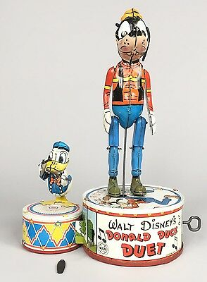 Marx Donald Duck And Goofy Duet Dancing Drumming Jigger Tin Toy Disney Vintage
