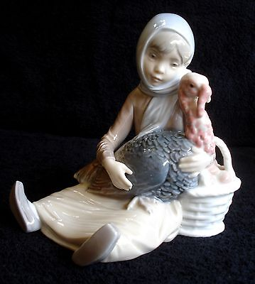 Lladro Girl With Turkey Porcelain Figurine # 4569 Retired 1981 Mint Condition