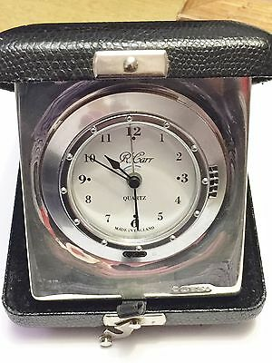 Solid Sterling Silver Faced Travel Clock - Richard  Carr -  Sheffield - 2000