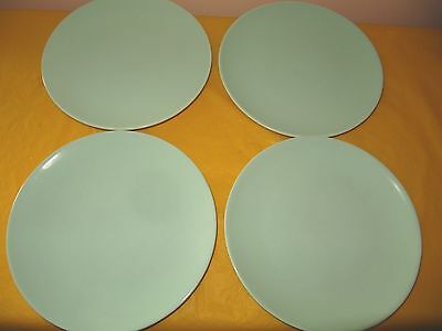 """4 BRANKSOME Light green SALAD PLATES dia 8.25"""", some cutlery marks  (1.2/9A)"""