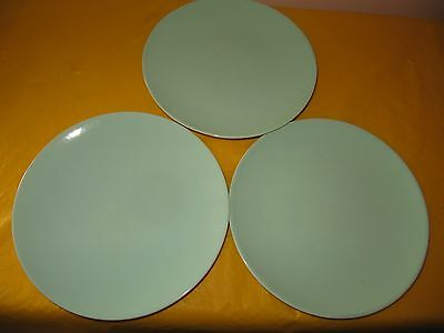 """3 BRANKSOME Duck Egg Blue SIDE PLATES dia 6.5"""",  small firing flaws,used in VGC"""