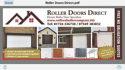 Remote Insulated Electric Roller Garage Door in Any Colour -Price Is Inc FITTING