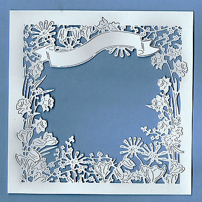 4 Beautiful New Tattered Lace Botanical Bouquet Floral Frame Die Cut Toppers