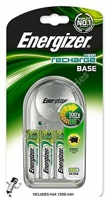 Energizer Base Charger + 4 x AA 1300 mAh Rechargeable Batteries