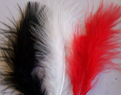 """Fluffy  Red, White And Black Marabou Feathers 1""""-3""""  Cardmaking,  Wedding,"""