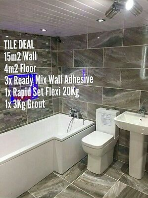 Room Deal Grey Stone Effect Ceramic Gloss Wall Tiles Bathroom, Kitchen,60x30cm
