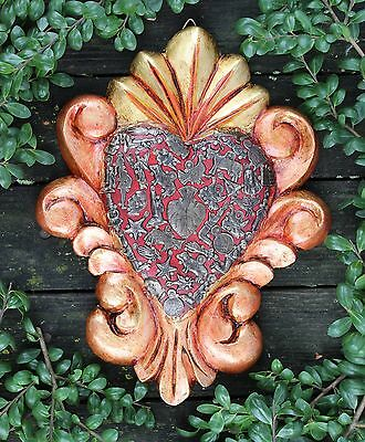 Copper & Gold Color Carved Scroll Wood Heart Milagros, Folk Art Michoacán Mexico