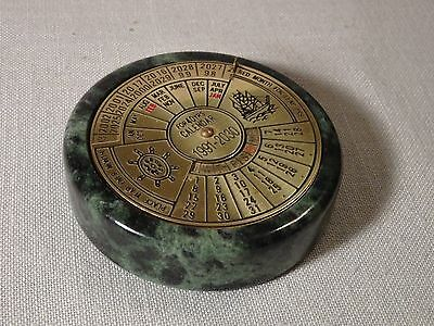 40 Year Perpetual Desk Calendar Paperweight Green Marble and Brass 1991 - 2030