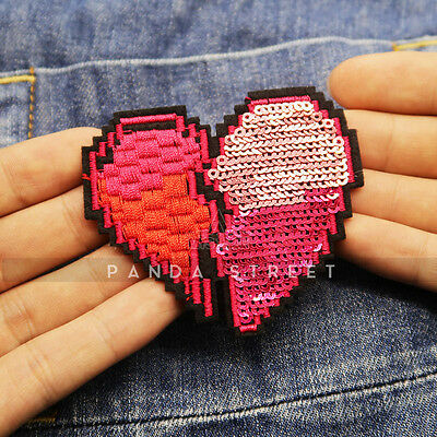 Sequins Heart Embroidery Sew On Iron On Patch Badge Clothes Bag Fabric Applique