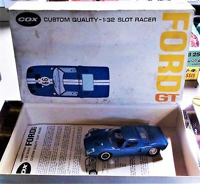 COX NICE VINTAGE FORD GT BLUE 1/32 Slot Car Running Chassis BOX INS AMT REVELL