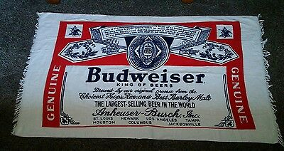 VTG 60s Budweiser Towel Full Label Bud Beer Beach Anheuser Busch