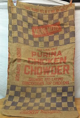 Vintage Checkerboard PURINA CHICKEN CHOWDER Feed Sack BEMIS Mpls Burlap Bag