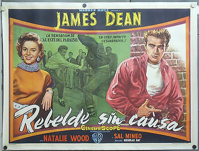 E1537D REBEL WITHOUT A CAUSE JAMES DEAN WOOD ORIG ARGENTINE 2sh POSTER LINEN
