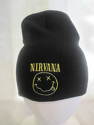 Nirvana Beanie Knit Cap Hat Headwear Cobain Seattle Grunge Apparel New F26