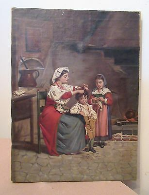antique 1800's original figural family mother children oil painting on canvas