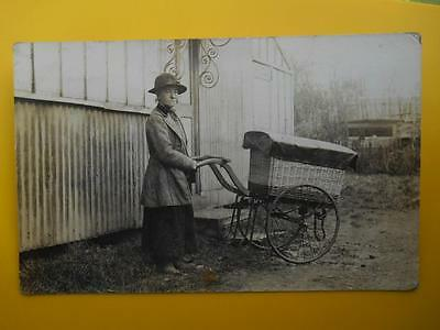 Old Lady Pedlar & Delivery Hand Cart *Vintage* RP c1910 Social History Costume