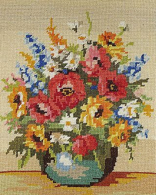 "Beautiful vintage needlepoint-   Bunch of flowers on beige. 15"" x 10½"""