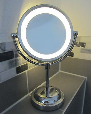 5 x Magnifying Round LED Illuminated Bathroom Make Up Cosmetic Shaving Mirror