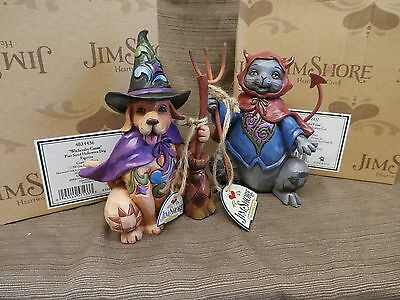 Jim Shore WITCHCRATY CANINE & FRIGHTFUL FELINE Halloween Dog & Cat Lot of 2 pint