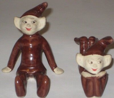 Pixie SPRITES in BROWN Vintage TREASURE CRAFT CALIFORNIA Pottery FIGURINES