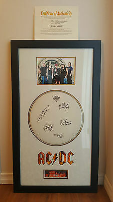 RARE AC/DC Signed Drum Head Autographed with Certificate of Authenticity
