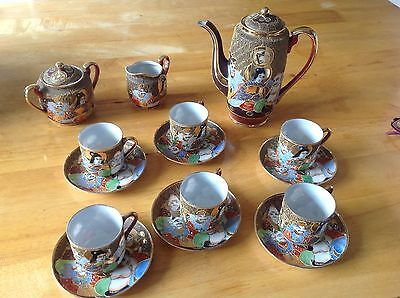 Satsuma Antique Hand Painted Japanese Complete Tea/Coffee Set
