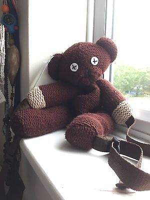 "VINTAGE 1998 MR BEAN's teddy back pack bag 15"" RARE - collectors collectibles"