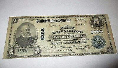 $5 1902 Tarboro North Carolina NC National Currency Bank Note Bill Ch #8356 Fine
