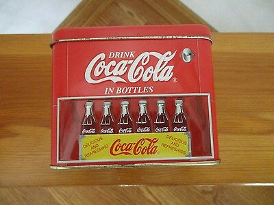 Coca Cola Tin Box Red Metal Container Replica of Coke Bottle Machine