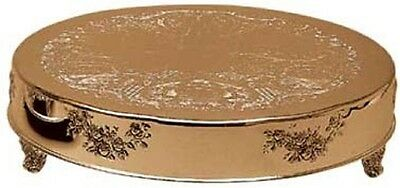 """Gold Finish Embossed Cake Stand Plateau 18"""" Round (New)"""