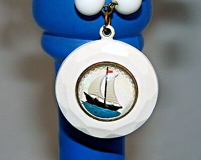 ~ REVERSE-PAINTED NAUTICAL BRACELET ANTIQUE Beaded Domed 2-SIDED CHARM ~