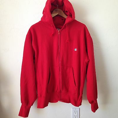 Rare Vintage Champion Reverse Weave Full Zip Hoodie - Red - Large - USA