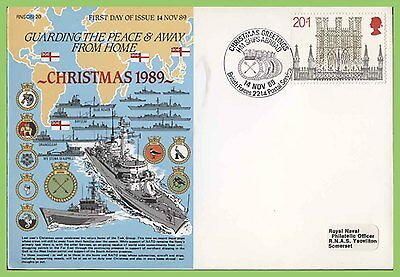 G.B. 1989 Christmas 20p on Royal Navy First Day Cover, BFPS 2214