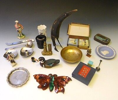 Job lot of 25 antiques, curios & collectables, hallmarked silver, scrimshaw