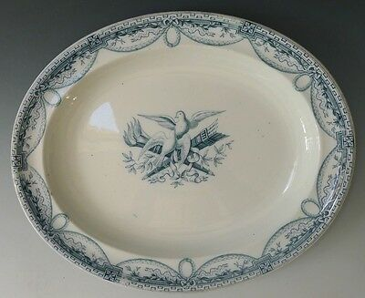Antique Wedgwood blue & white meat plate 1877 - PEACE pattern