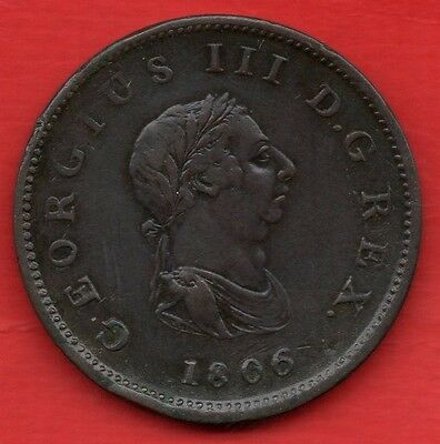 1806 KING GEORGE III COPPER HALF PENNY COIN. HALFPENNY. 1/2d
