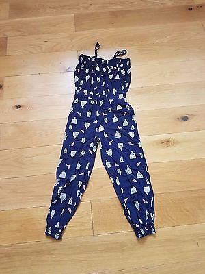 Girls Blue With Bird Cage Design Jumpsuit Age 10 -11 Years