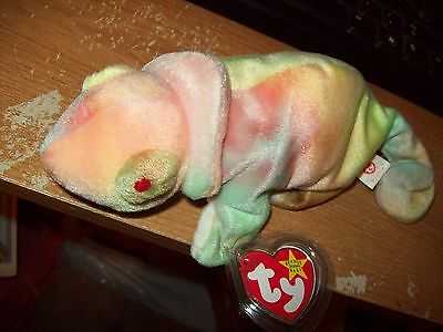 Ty Beanie Babies Collection  Rainbow The Lizard Dateof Birth 10-14-1997 Retired