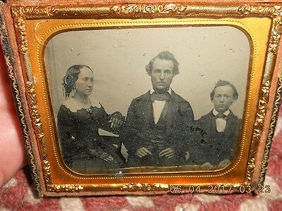 Mid 19Th Century Clear Ambrotype Of Father, Son, & Unusual Side Posed Mother