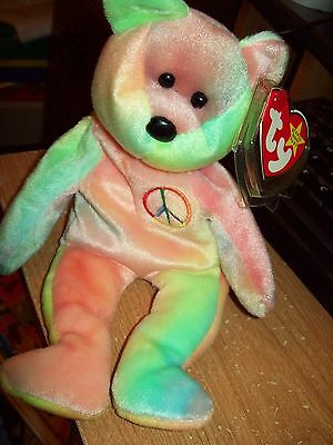 Ty Beanie Babies Collection  Peace The Bear Date Of Birth 02-01-1996 Retired