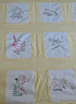 vintage handmade quilt, embroidered all 50 state birds w yellow silk, flannel bk