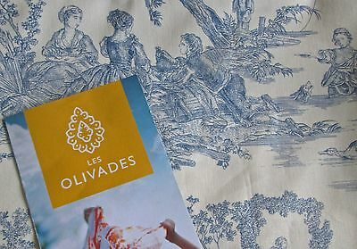 """lovely new toile de jouy Four Seasons fabric les Olivades, 58x59,"""" blue on cream"""