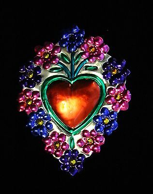 Mexico Tin Milagro Heart & Flowers Ornament Love Token Valentines Day Hand Made