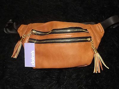Fanny pack Hip sack Brown Leather Like purse travel vacation waist pack