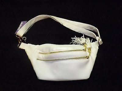 Fanny pack Hip sack White Leather Like purse travel vacation waist pack